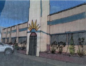 drawing of flea mkt building
